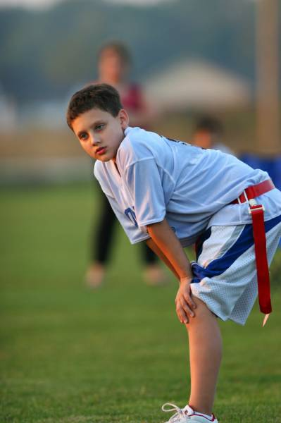 flag football plays 5 on 5. first down, one zone 5 yards